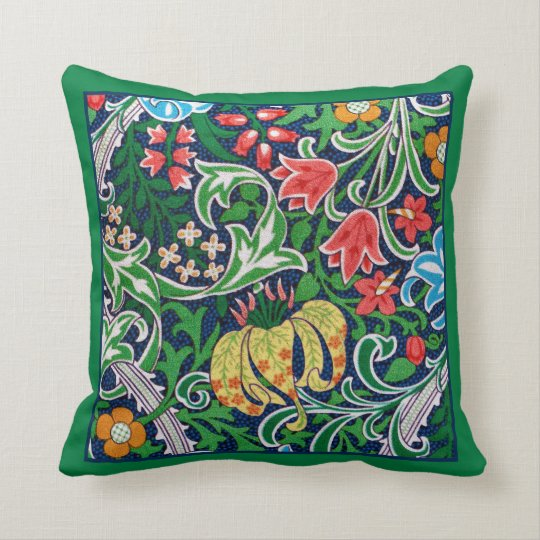 Art Nouveau Jacobean Floral, Emerald Green Throw Pillow