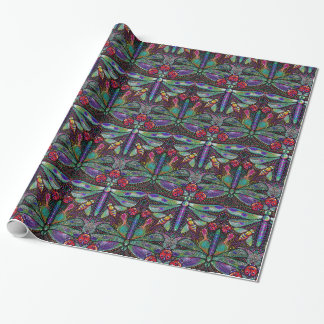 Art nouveau jeweled dragonflies wrapping paper