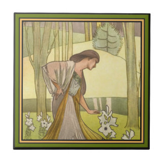 Art Nouveau ~ Lady and Lilies Tile