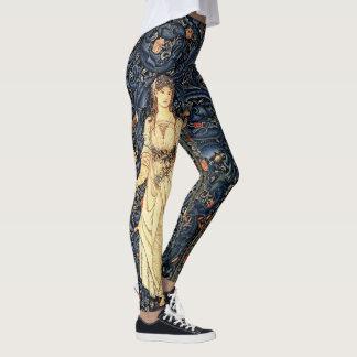 Art Nouveau Lady Flowers All Over Print Leggings
