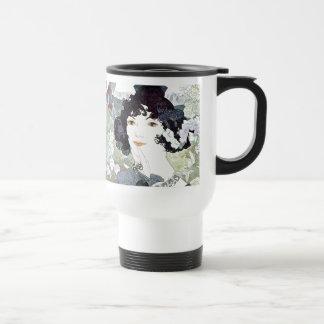 Art Nouveau Lady & Flowers Floral Mug