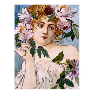 Art Nouveau Lady with Flowers Postcard