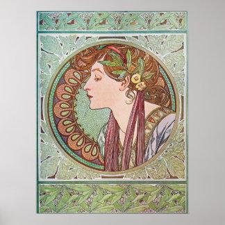 Art nouveau lady with laurel leaves poster