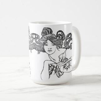Art Nouveau Lady Woman Bicycle Fashion Mucha Mug
