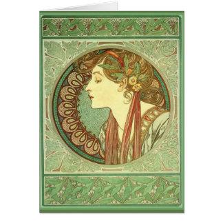 "Art Nouveau ~ ""Laurel"" 1901 Alphonse Mucha Card"
