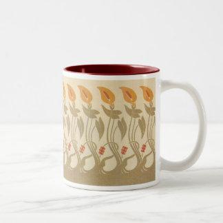 Art Nouveau Lilies Two-Tone Coffee Mug