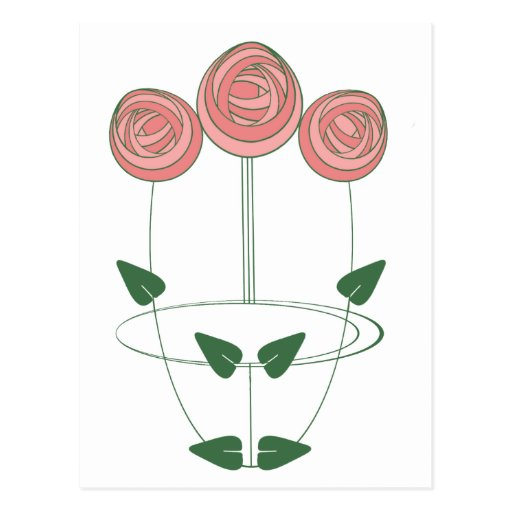 Art Nouveau Mackintosh Roses Motif Postcards