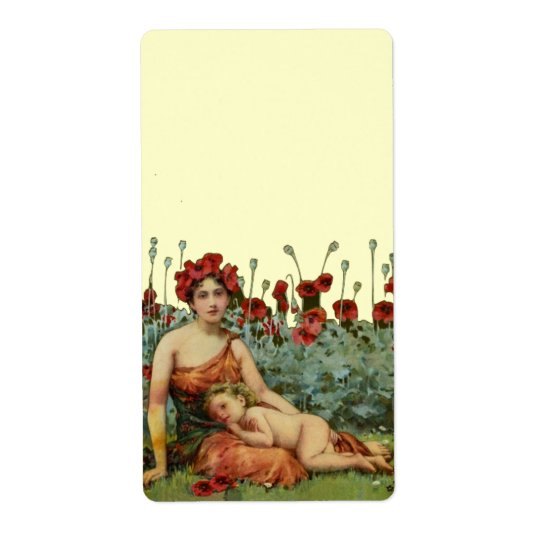 Art Nouveau Mother and Child with Poppies Shipping Label