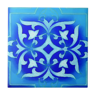 art-nouveau motifs in blues tile