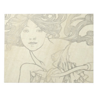 Art Nouveau Mucha Lady Bicycle Note Pad