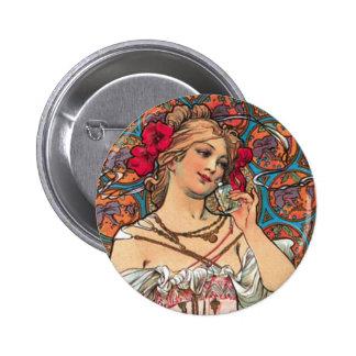 Art Nouveau - Mucha - Perfume Ad 2 Inch Round Button