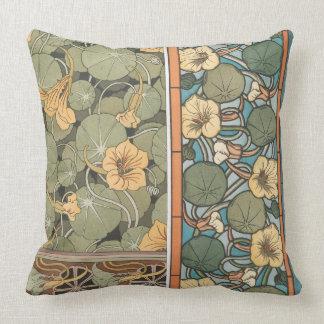 Art Nouveau Nasturtium Flowers Floral Pillow