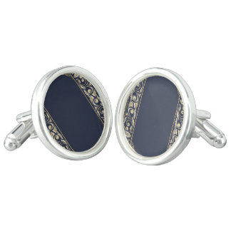 art nouveau, navy blue, gold,antique,belle époque, cuff links