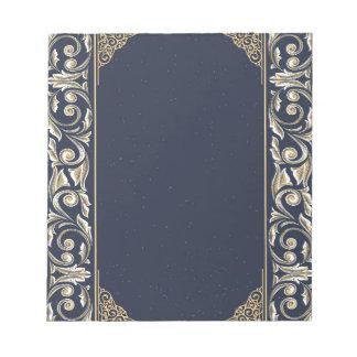 art nouveau, navy blue, gold,antique,belle époque notepad