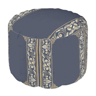 art nouveau, navy blue, gold,antique,belle époque, pouf