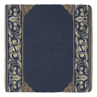 art nouveau, navy blue, gold,antique,belle époque, trivet