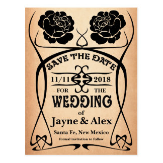 Art Nouveau Old West Rose Wedding Save the Date Postcard