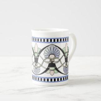 Art Nouveau Pastel Shells, Lilies & Black Stripes Tea Cup