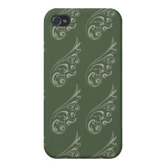 Art nouveau pattern green green iPhone 4 covers