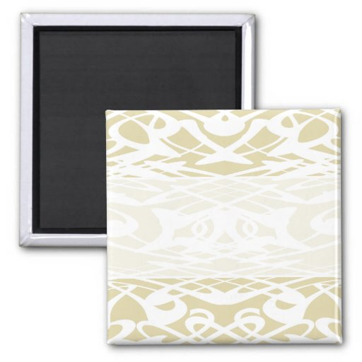 Art Nouveau Pattern in Beige and White. Refrigerator Magnet