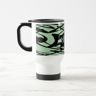 Art Nouveau Pattern in Green and Black. Travel Mug