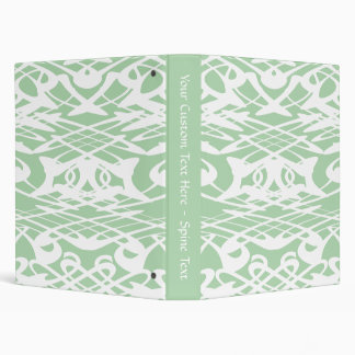 Art Nouveau Pattern in Light Green and White. 3 Ring Binders