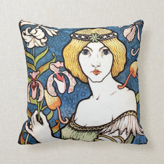 art nouveau Paul Berthan fine art throw pillow