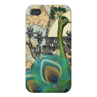 Art Nouveau Peacock Chandelier Flower iPhone Case Covers For iPhone 4