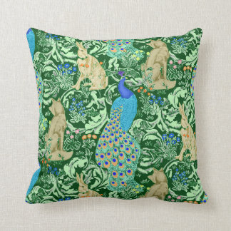 Art Nouveau Peacock, Cobalt Blue & Green Throw Pillow