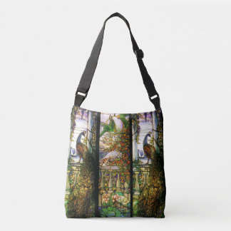 Art Nouveau Peacock Parrot Bird Stained Glass Crossbody Bag