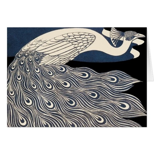 Art Nouveau Peacock Poster Card