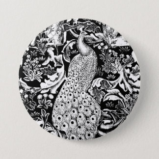 Art Nouveau Peacock Print, Black and White 3 Inch Round Button