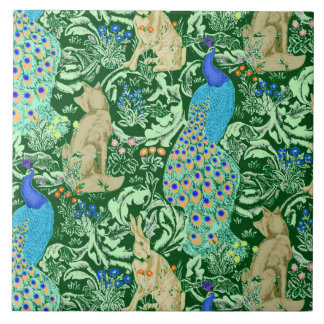 Art Nouveau Peacock Print, Cobalt Blue & Green Tile