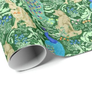 Art Nouveau Peacock Print, Cobalt Blue & Green Wrapping Paper