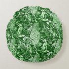 Art Nouveau Peacock Print, Forest Green Round Pillow