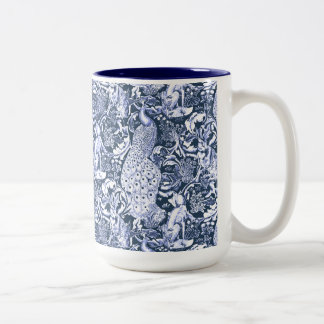 Art Nouveau Peacock Print, Navy and White Two-Tone Coffee Mug