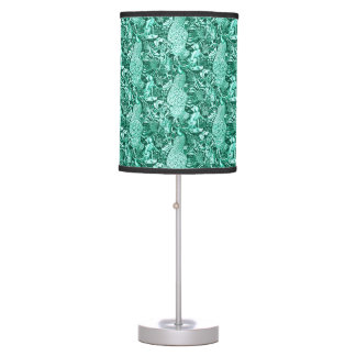 Art Nouveau Peacock Print, Turquoise and Aqua Table Lamp