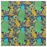 Art Nouveau Peacock Print, Turquoise & Neutrals Fabric