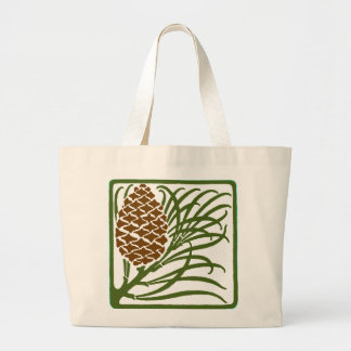 Art Nouveau Pine Cone Large Tote Bag