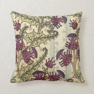 Art Nouveau Plum Green Floral Throw Pillow