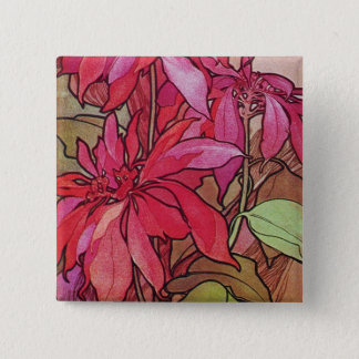 Art Nouveau Poinsettia Christmas Button Pin Mucha