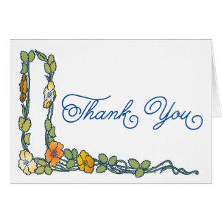 Art Nouveau Poppy Flowers Thank You Card