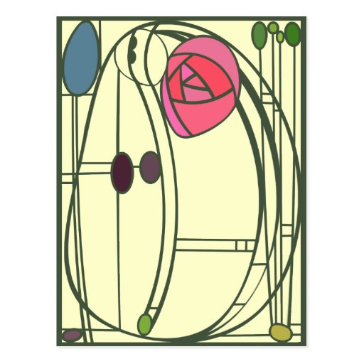 Art Nouveau Postcard in Pink