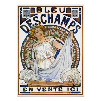 Art Nouveau Poster Bleu Deschamps by Mucha