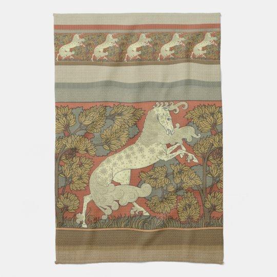 Art Nouveau Prancing Horse Towel