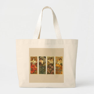 Art Nouveau Precious Stones and Flowers Jumbo Tote