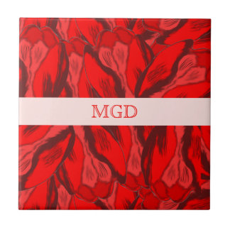 Art Nouveau profusion of red tulips with monogram Tile