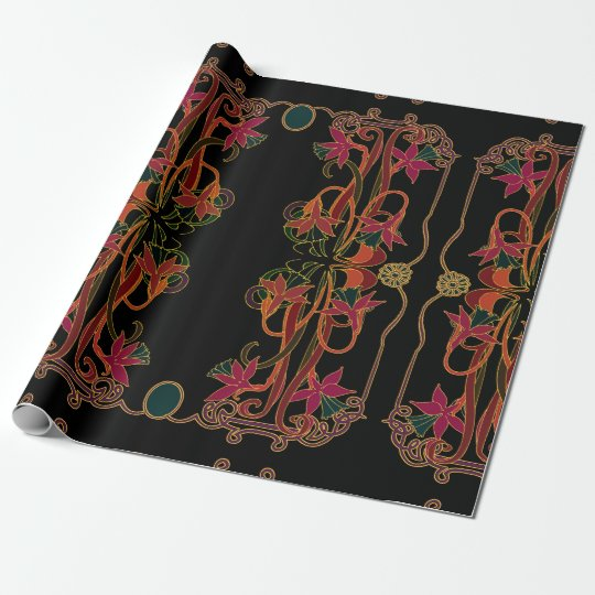 Art Nouveau Purple and Red Daffodils Wrapping Paper