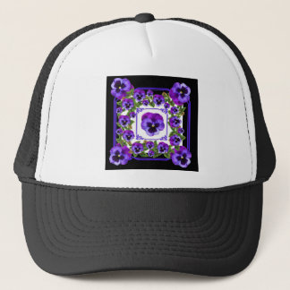 ART NOUVEAU PURPLE SPRING PANSY GARDEN TRUCKER HAT