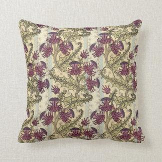 Art Nouveau Purple Thistle Flower Pillow